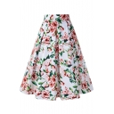 Hot Popular Retro Camellia Printed Zipper Fly Midi A-Line Skirt