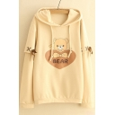 Childish Bear Sweetheart Letter Print Lace-up Detail Pullover Layered Hoodie