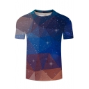 Fashion Color Block Starry Sky Printed Round Neck Short Sleeve Tee