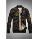 Mesh Insert Camouflage Printed Stand Up Collar Long Sleeve Zip Up Baseball Jacket