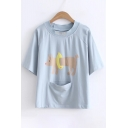 Fashionable Dog Print Letter Embroidery Pocket Front Short Sleeves Tee