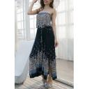 Beach Fashion Floral Print Slit Side Belted Midi Bandeau Dress