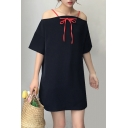 Natural Plain Two Way Cold Shoulder Half Sleeve Bow Tie Detail Mini T-shirt Dress