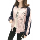 Street Fashion Floral Embroidered Color Block Zip Up Baseball Jacket