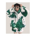 Spring Fashion Plant Leaf Print Drawstring Hoodie with Loose Sports Shorts