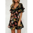 Hot Fancy Floral Print Plunge Neck Short Sleeve Bow Belted Mini A-line Dress