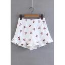 Sweet Cherry Printed Ruffle Hem Detail Zipper Side Shorts