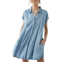 Popular Lapel Button Front Cap Sleeve Pocket Detail Bow Tied Back Mini Denim Shirt Dress