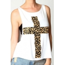 Women's Fashion Leopard Cross Print Round Neck Loose Tank with Plain Bandeau