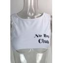 NO BRA CLUB Letter Printed Round Neck Sleeveless Cropped Tank