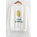 Daily Fashion Balloon Letter Print Round Neck Long Sleeves Pullover Sweatshirt