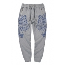 Drawstring Waist Zip Pocket Tiger Printed Leisure Comfort Pants