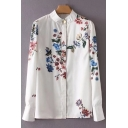 Fancy Floral Print Button Front Long Sleeve Loose Casual Shirt