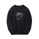 Fashion Sequined Abstract Pattern Round Neck Long Sleeves Pullover Sweatshirt