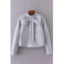 Trendy Oversize Bow Detail Mock Neck Long Sleeves Cropped Sweatshirt
