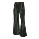 Leisure Vertical Striped Printed Zipper Fly Wide Leg Loose Pants