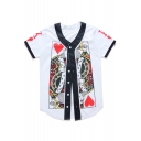Unique Poker Card King  Pattern Button Front V-Neck Short Sleeve Baseball Tee