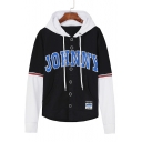 Sportive Letter Pattern Color Block Button Front Long Sleeves Hoodie