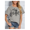Funny Pineapple Letter Printed Round Neck Short Sleeve Graphic Tee