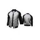 Chic Fancy Color Block PU Patchwork Single Breasted Long Sleeve Baseball Jacket