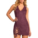 Popular Fashion V-Neck Sleeveless Lace-up Detail Plain Mini Bodycon Dress