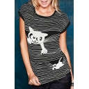 Cute Cat Striped Pattern Round Neck Short Sleeves Summer T-shirt