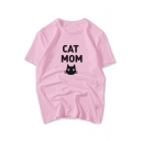 Popular Cat Cartoon Letter Print Round Neck Short Sleeves Casual Tee