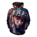 Digital Girl Printed Leisure Oversize Long Sleeve Hoodie with Pocket