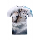 Digital Two Wolves Printed Round Neck Short Sleeve Leisure Tee