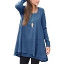 Fashionable Scoop Neck Long Sleeve Loose Casual Leisure Spring Tee Top