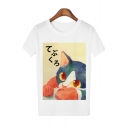 Cute Cat Japanese Print Round Neck Short Sleeves Casual Tee