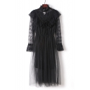Lady Sheer Lace Mesh Mock Neck Long Sleeve Two Pieces Bow Embellished Plain Maxi A-Line Dress