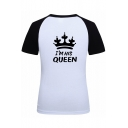 Color Block Raglan Short Sleeve Round Neck Letter Crown Printed Graphic Tee