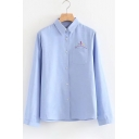 Spring's Simple Letter Embroidered Pocket Lapel Collar Long Sleeve Single Breasted Shirt