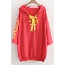 Fashion Letter Printed Back Long Sleeve Lace Up Front Tunic Hoodie