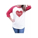 Color Block Raglan 3/4 Length Sleeve Round Neck Letter Heart Printed Tee