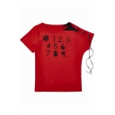 Letter Printed Round Neck Color Block Lace Up Embellished Short Sleeve Tee