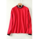 Fashionable Contrast Trim High Neck Long Sleeve Pullover Sweatshirt