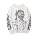Leisure Loose Character Printed Round Neck Long Sleeve Pullover Sweatshirt