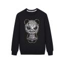 Diamante Embellished Round Neck Long Sleeve Unisex Pullover Sweatshirt