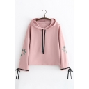 Simple Leaf Embroidered Bow Cuff Wide Sleeve Cropped Pullover Hoodie