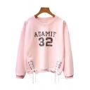 Street Fashion Number Letter Print Lace-up Hem Round Neck Pullover Sweatshirt