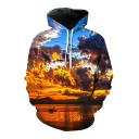 Digital Cloudy Sky Printed Leisure Loose Long Sleeve Hoodie