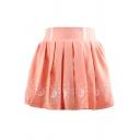 Girlish Moon Cat Cartoon Pattern High Waist Pleated Mini Skirt