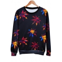 Fallen Leaves Printed Round Neck Long Sleeve Pullover Sweatshirt