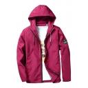 Simple Badge Detail Zip Up Hooded Men's Outdoor Spring Jacket