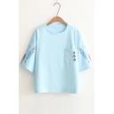 Fancy Fish Carp Streamer Japanese Pattern Round Neck Short Sleeves Pocket Tee