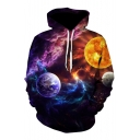 Mysterious Galaxy Planet Print Long Sleeves Pullover Leisure Hoodie