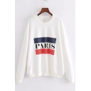 Spring's New Arrival Letter Printed Round Neck Long Sleeve Pullover Sweatshirt