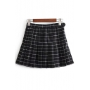 Old School Fashion Plaids Pattern Zip Side Mini Pleated Skirt